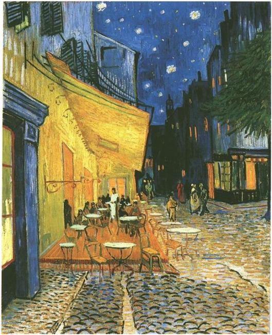 Café-Terrace-on-the-Place-du-Forum,-Arles,-at-Night,-The
